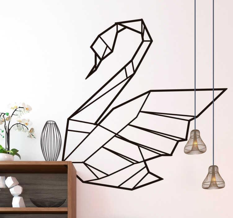 TenStickers. 天鹅折纸客厅墙壁装饰. 这个令人敬畏的折纸墙贴是一个完美的解决方案,如果你想给你家的特定房间一些生活和多样性。