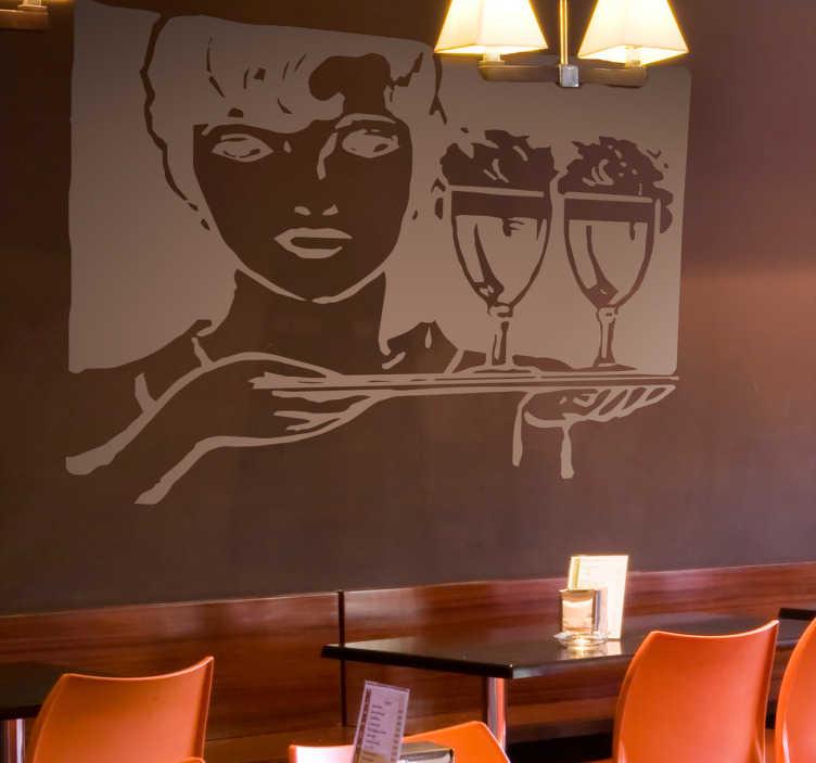 TenStickers. Bedrijfsstickers restaurant serveerster. Decoreer uw restaurant met deze muursticker waar een serveester op is afgebeeld. Verkijgbaar in verschillende kleuren en maten. Express verzending 24/48u.