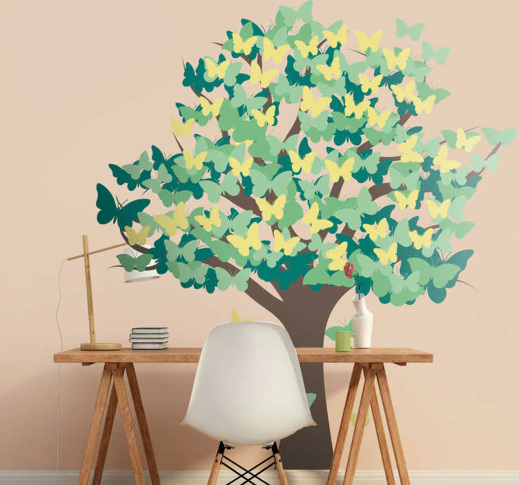 TenStickers. Autocolante sala de estar arvore de borboletas. Vinil autocolantes ideal para a sala de estar ou até quartos de dormir. Os nossos adesivos aderem a qualquer superfície lisa e limpa.