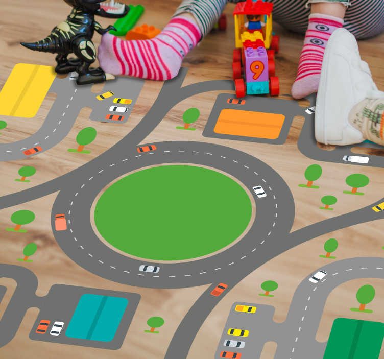 TenStickers. Kinderkamer sticker auto spel. Vloersticker met het bekende ontwerp van de wegen waar de kleintjes met hun speelgoed autootjes overheen kunnen. Express verzending 24/48u.