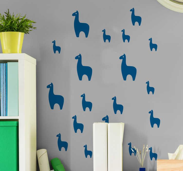 TenStickers. Muurstickers slaapkamer Lama collectie. Decoreer uw woning met deze muursticker die een groep lama's afbeeldt, in verschillende maten. 10% korting bij inschrijving.