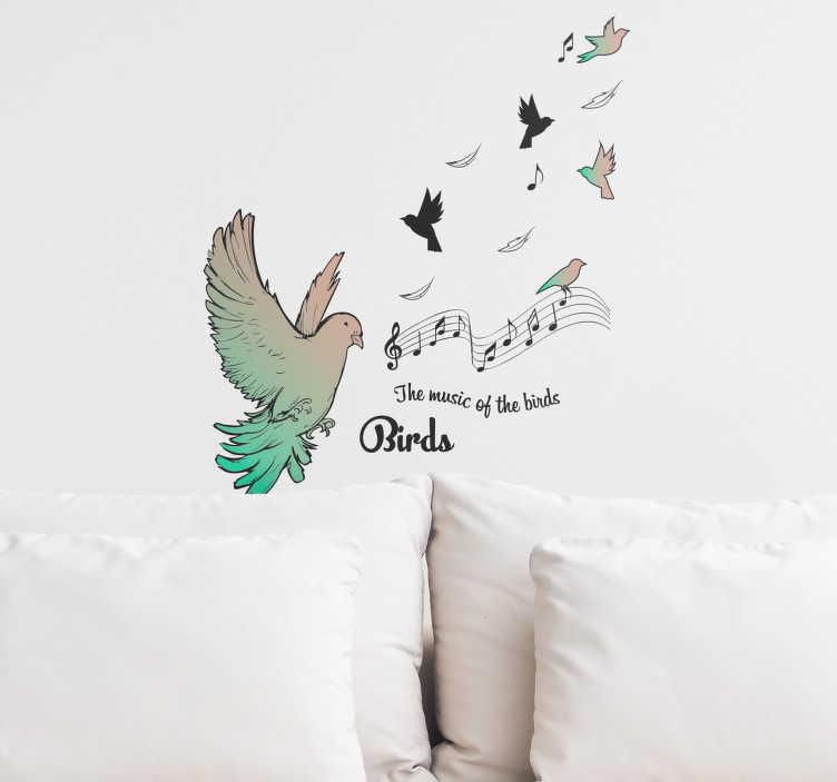"""TenStickers. Naklejka z rysunkiem """"Muzyka ptaków"""". Naklejka na ścianę, przedstawiającanutki i ptaszki z napisem w języku angielskim """"Muzyka ptaków"""". Jeśli jesteś wielbicielem ptaków, ta naklejka zdecydowanie powinna znaleźć się w Twoim domu! Nasi graficy pomogą Ci z projektem!"""