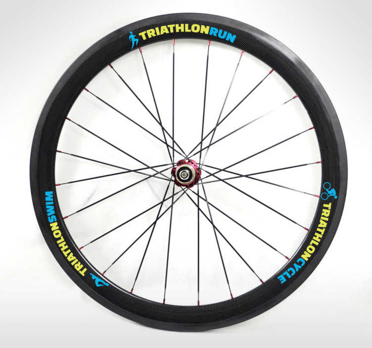 TenStickers. Triathlon Bike Wheel Sticker. Sport stickers - Triathlon themed design ideal for customising you bike wheels.