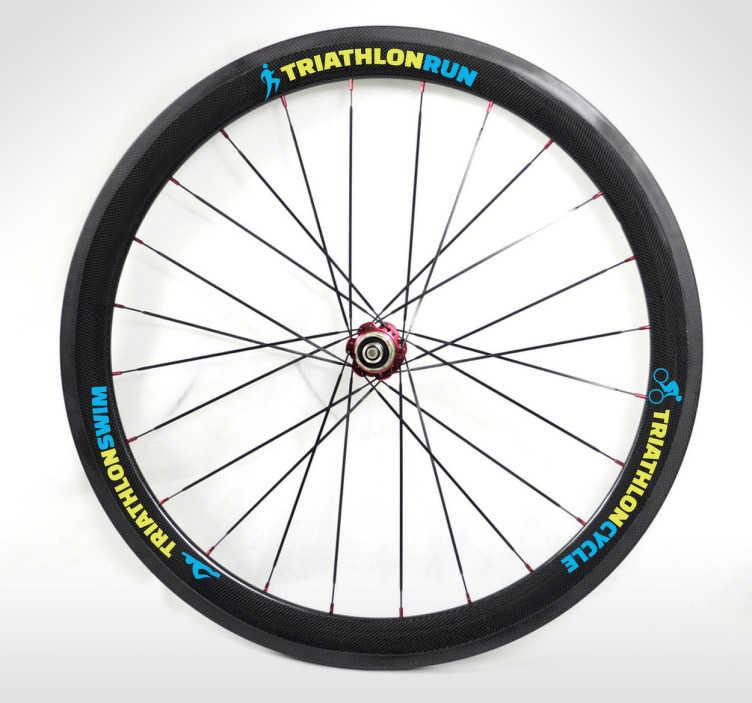 """TenStickers. Fahrradreifen Aufkleber Triathlon. Gestalten Sie Ihre Fahrradreifen mit diesen drei Reifenaufklebern im Triathlon Stil. """"Triathlon Run, Triathlon Cycle, Triathlon Swim""""."""