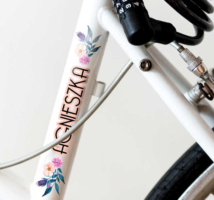 TenStickers. name with flowers for bike Decal.  Decorative flowers sticker for bike frame decoration. It is customisable in any required name. Easy to apply and can be chosen in any size.