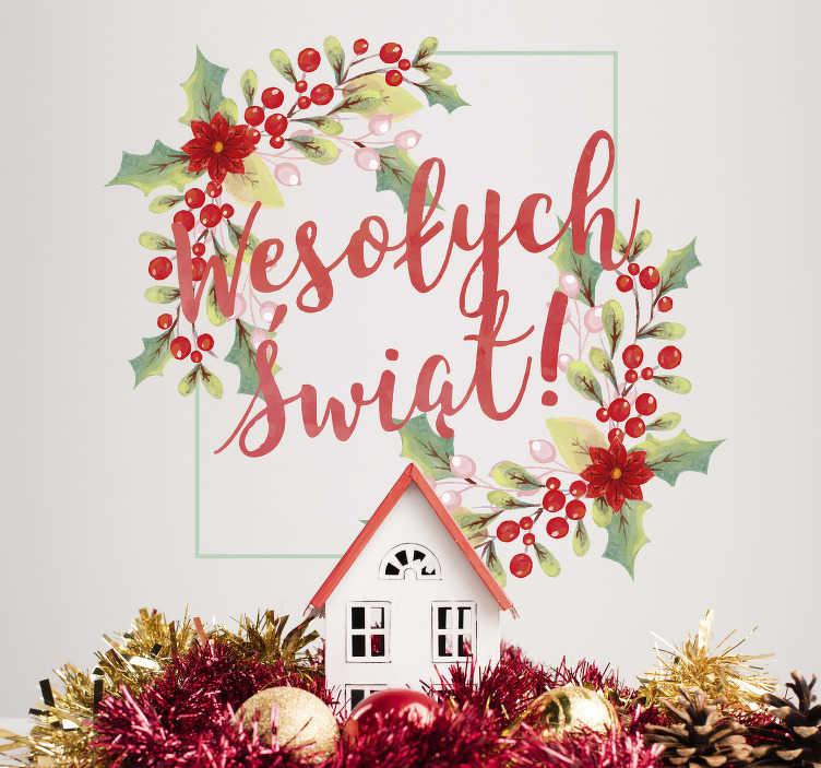 """TenStickers. Naklejka na ścianę """"Wesołych świąt"""". Świąteczna naklejka, która przedstawia napis """"Wesołych świąt"""", otoczony gałązkami świątecznej jarzębiny. Poczuj magię świąt z tą wspaniałą naklejką!"""