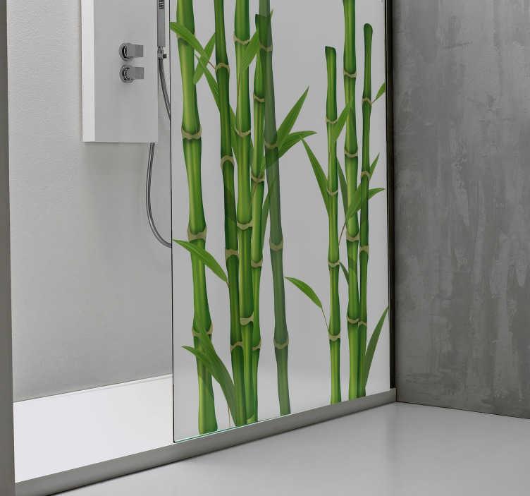 TenStickers. Naklejka na prysznic łodygi bambusa. Naklejka na kabinę prysznicową, przedstawiająca łodygi bambusa, która z łatwością odmieni Twoją łazienkę! Ożyw swoją łazienkę z tą wyjątkową dekoracją! Wyprzedaż się kończy, zamów taniej teraz!