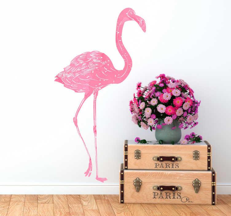 TenStickers. Autocolante sala de estar flamingo aguarela. Autocolante decorativo para casa com a silhueta de um flamingo cor-de-rosa. Vinis à prova de bolha.