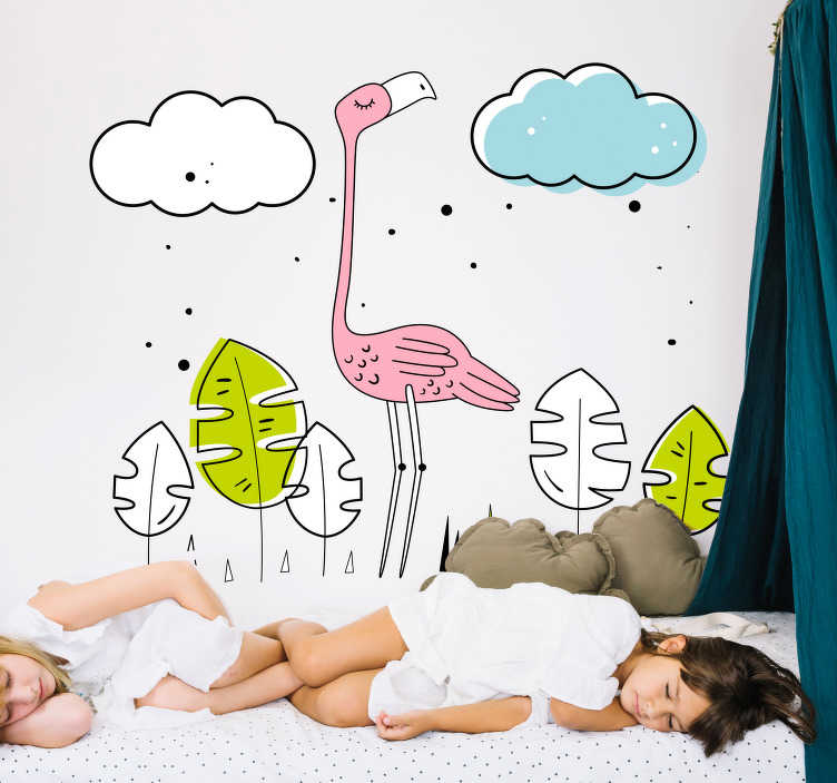 TenVinilo. Vinilo pared flamenco animal dibujo. Vinilo para habitación infantil con el dibujo de un flamenco y otro elementos decorativos. Descuentos para nuevos usuarios