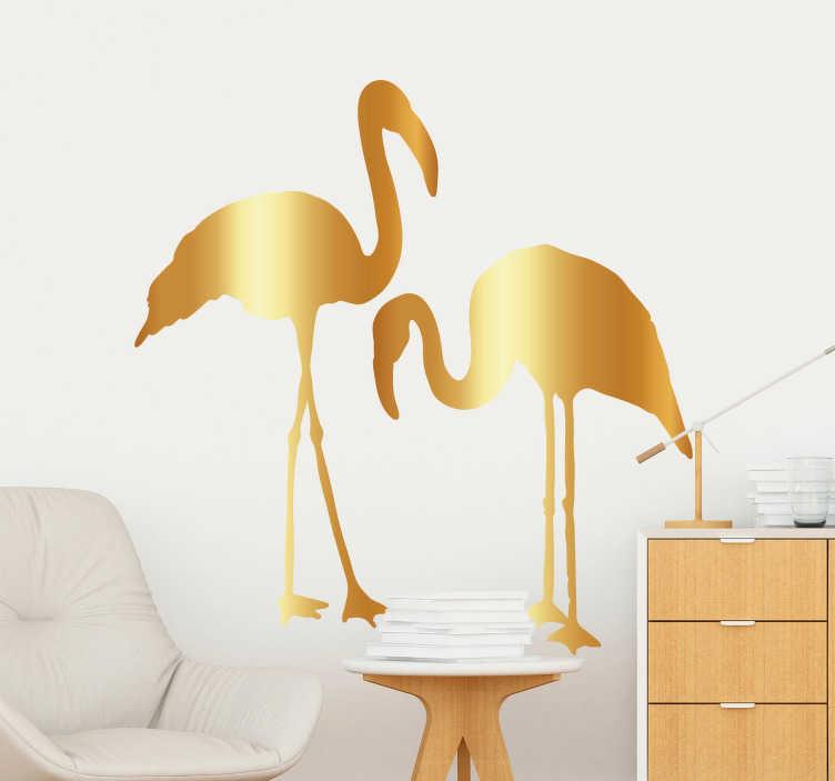 TenStickers. Autocolantes quarto de dormir flamingo dourado. Vinil autocolante muito versátil e que vai dar um toque bastante elegante a qualquer sítio que o cole. Vinis à prova de bolha.