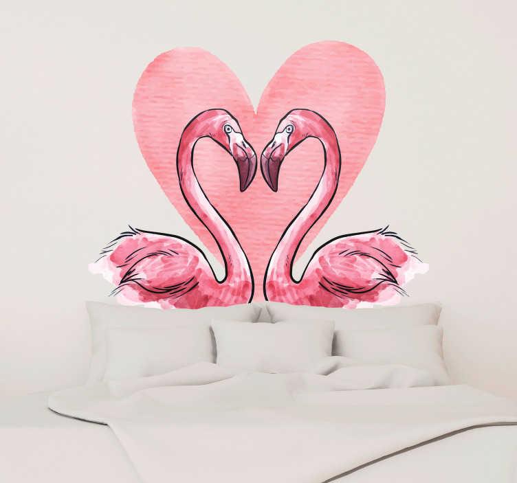 TenVinilo. Vinilo pared flamenco corazón. Cabecero de vinilo con el diseño de una pareja de flamencos sobre un corazón. Envío Express en 24/48h