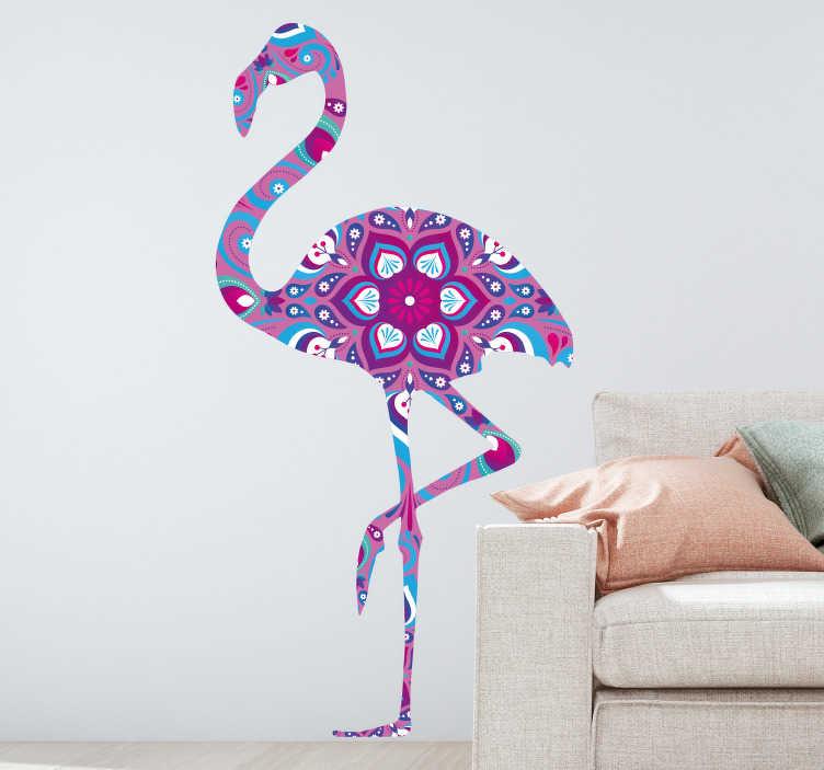 TenVinilo. Vinilo pared flamenco mándala. Original vinilo adhesivo con el diseño de un flamenco con estampado de mandala floral en tonos lilas, azules y rosas. Precios imbatibles.