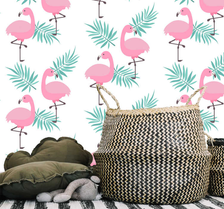 TenStickers. Vinil sala de estar padrão tropical flamingos. Autocolante decorativo para casa com padrão de flamingos e folhas de palmeiras. Fácil de aplicar e não deixa residuos após remução.