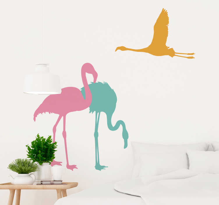 TenStickers. Flying Flamingo Wall Sticker. Furnish your home with flamingos, thanks to this fantastic bird themed wall sticker! Sign up for 10% off.