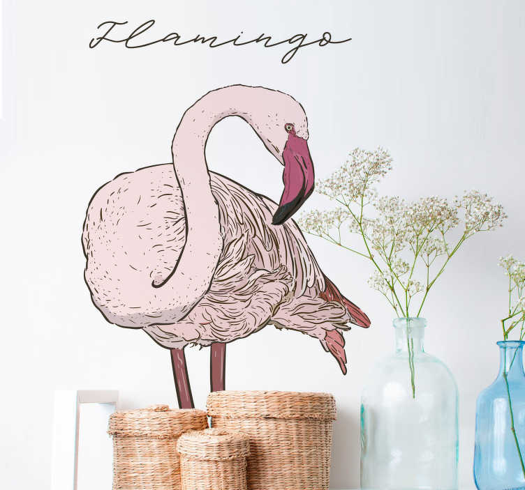 """TenStickers. Naklejka dla dzieci rysunek różowego flaminga. Naklejka ścienna, przedstawiająca rysunek flaminga i napis w języku angielskim """"flamingo"""", która idealnie nada się do pokoju Twojego dziecka. Codziennie nowe projekty!"""