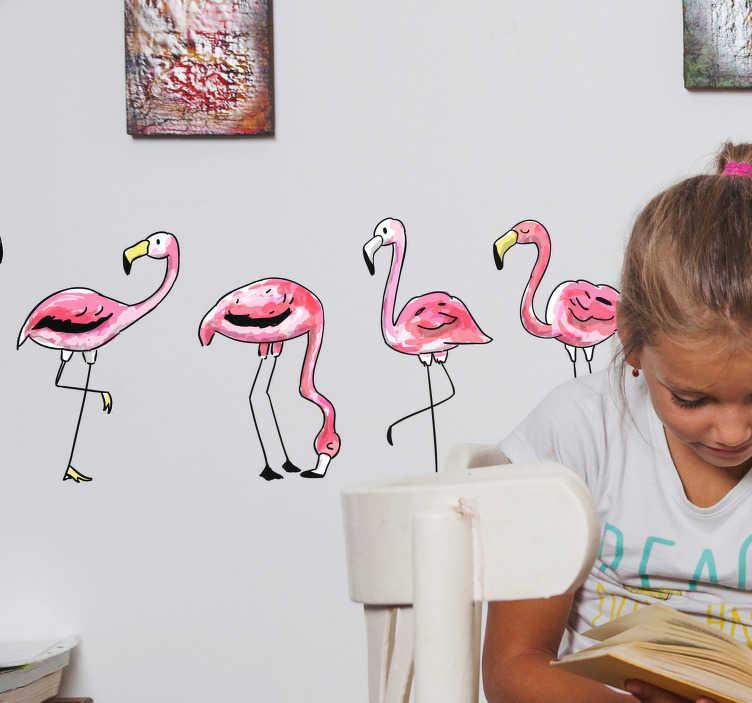 TenVinilo. Cenefa adhesiva Flamingo infantil. Cenefa formada por cinco flamencos en diferentes posiciones. Si lo prefieres, los puedes colocar libremente. Compra Online Segura y Garantizada.