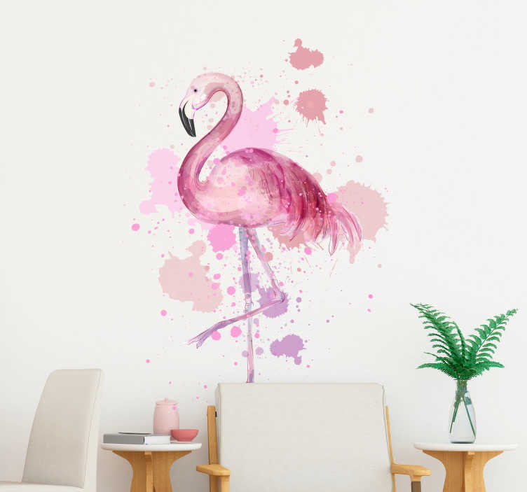 TenStickers. Kunst muursticker flamingo schildering. Unieke muursticker van een flamingo schildering met verfspatten. Verkrijgbaar in de door u gewenste afmetingen. Eenvoudig aan te brengen.