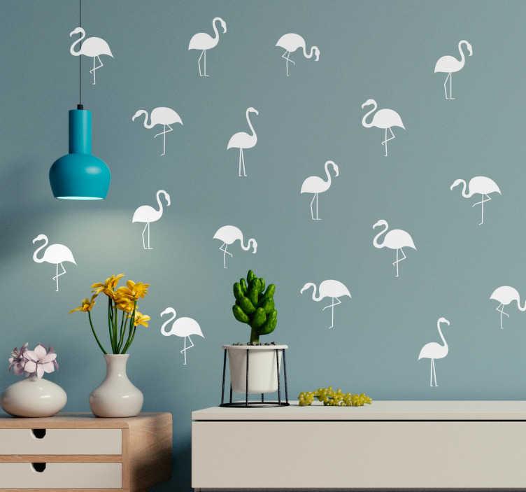 TenStickers. Flamingo patroon eenkleurig muursticker. Muursticker met vijf flamingo's in een kleur naar keuze. Ideaal voor het decoreren van de woonkamer of slaapkamer. Snelle klantenservice.
