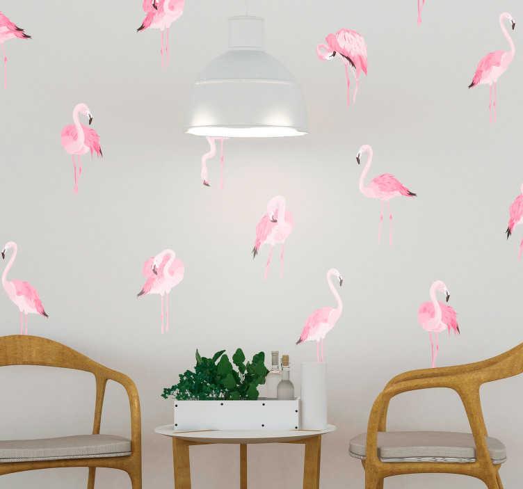 TenVinilo. Vinilo pared Patrón flamenco rosa. Original vinilo adhesivo formado por un patrón de ocho flamencos, cada uno colocado en una posición diferente. Fácil aplicación y sin burbujas.