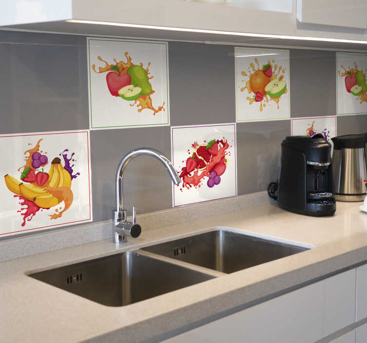 TenStickers. Smashed Fruit Tile Stickers. Add a splash of juice and colour to your wall with this fantastic collection of kitchen tile stickers! Personalised stickers.