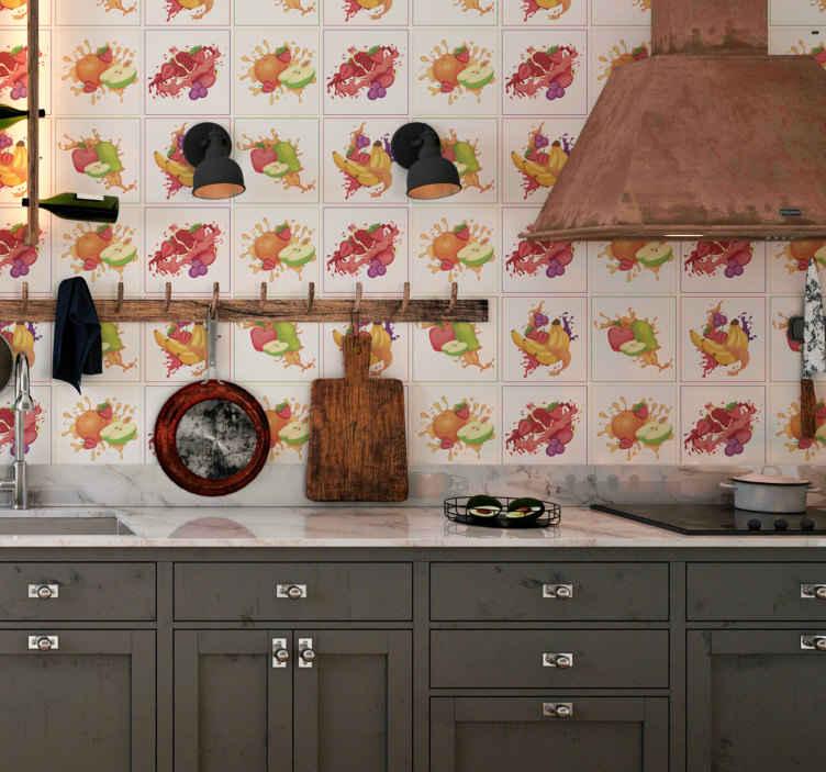 TenVinilo. Vinilo pared Collage de frutas. Cenefa para cocina formada por cuatro cuadrados de diferentes colores con frutas en su interior. Atención al Cliente Personalizada