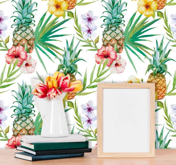TenVinilo. Vinilo pared Dibujos de piñas. Lámina de vinilo adhesiva con temática tropical ideal para decorar una cocina formada por piñas, hojas y flores. Fácil aplicación y sin burbujas.