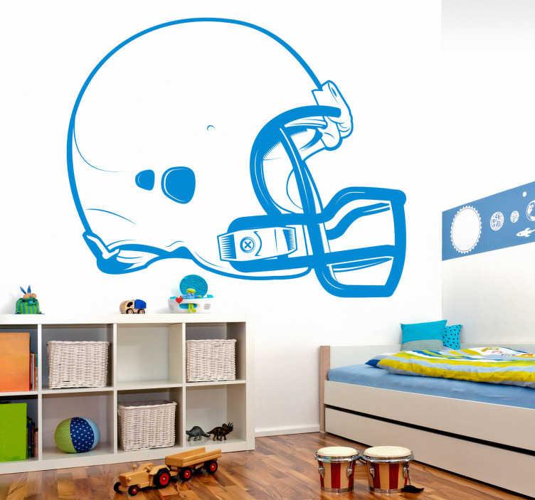 TenStickers. Stickers rugbyhjelm. Sports Stickers - En rugby hjelm perfekt til teenage værelset. Vælg blot en størrelse og farve til din nye wallsticker.