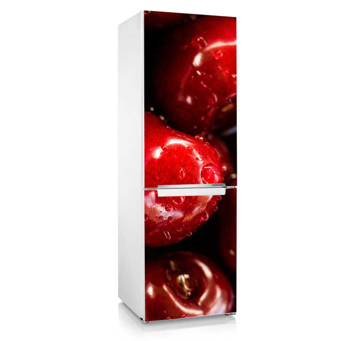 TenStickers. Wandtattoo Früchte Frische Kirschen. Diese Kirschen Kühlschrank Folie in einem tollen Rotton, das frische Früchte zeigt, wird Ihrer Küche das gewisse Etwas geben. Riesige Auswahl