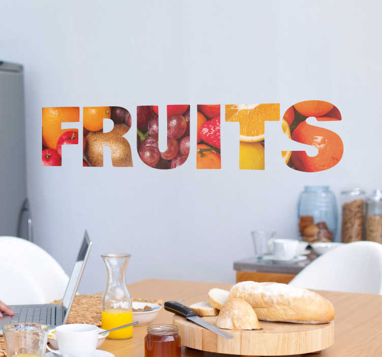 TenStickers. Fruits Wall Text Sticker. Show your love for fruit with this fantastic wall text sticker! Sign up for 10% off.