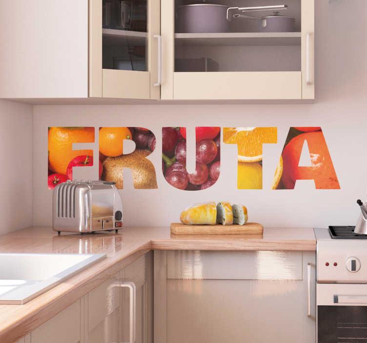 """TenVinilo. Vinilo pared Fruta texto. Vinilo para la cocina formado por la palabra """"FRUTA"""" con un fondo muy frutal. +10.000 Opiniones satisfactorias"""