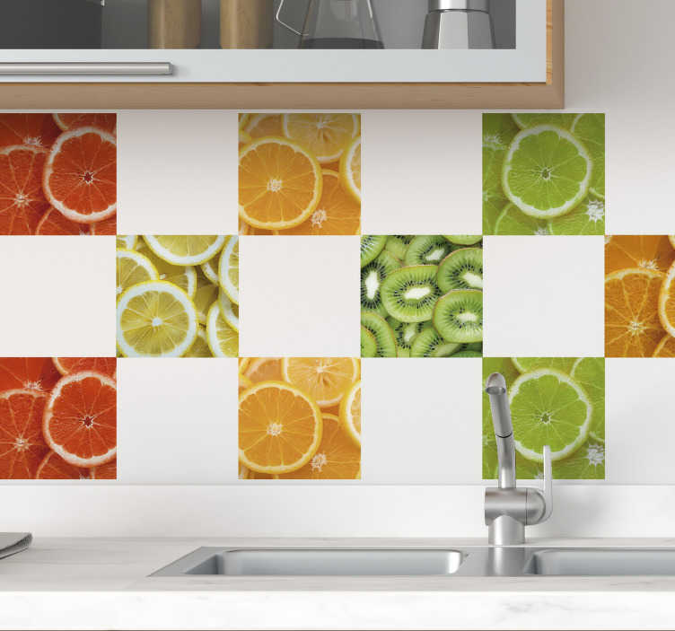 TenStickers. Fruit Slices Wall Tile Stickers. Decorate your home with this fantastic wall tile sticker, depicting various sliced fruits! Personalised stickers.