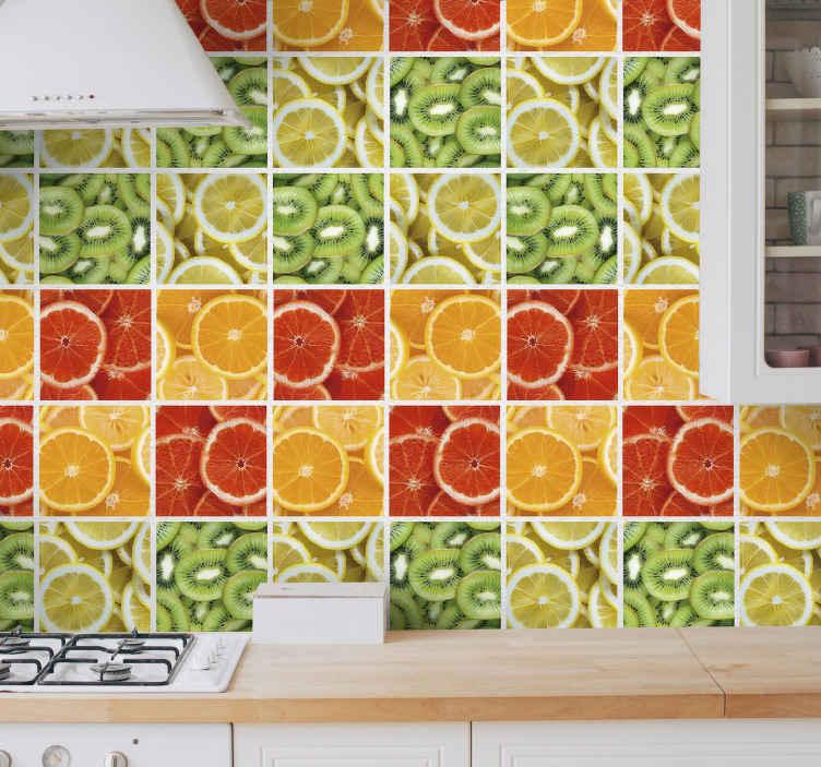 TenVinilo. Vinilo pared Frutas Cítricas. Colorida cenefa adhesiva para la cocina formada por seis cuadrados con estampado de frutas cítricas. Vinilos Personalizados a medida.