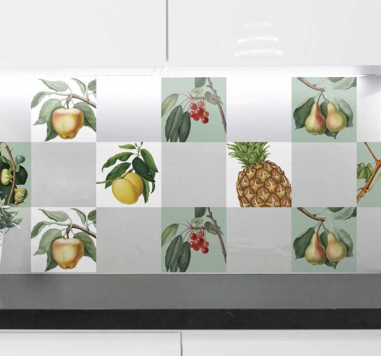 TenVinilo. Vinilo pared Frutas frescas. Excelente y colorida cenefa adhesiva para cocina con estampado de varias frutas sobre fondo blanco o verde pastel. Precios imbatibles.