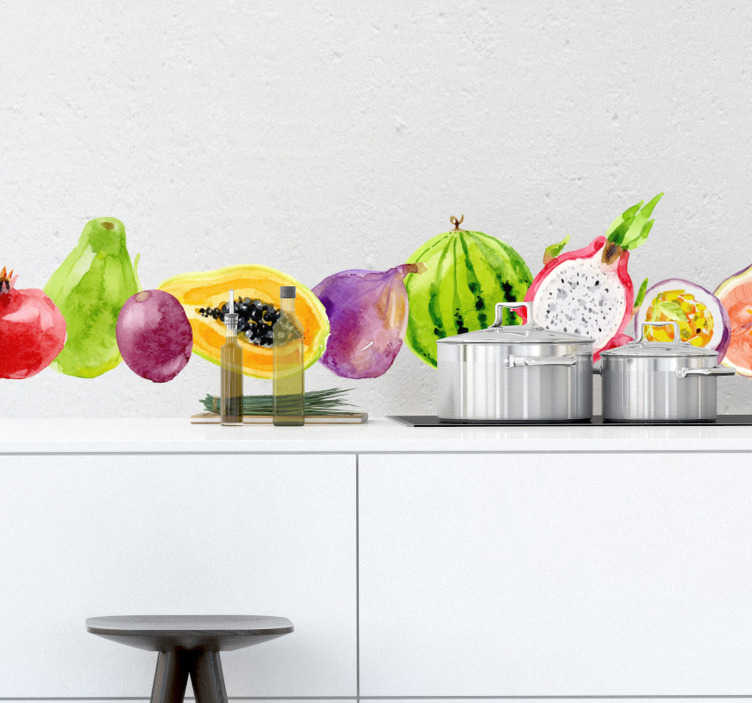 TenStickers. Tropical Fruit and Veg Wall Sticker. Decorate your home with this fantastic wall sticker promoting healthy eating! Anti-bubble vinyl.