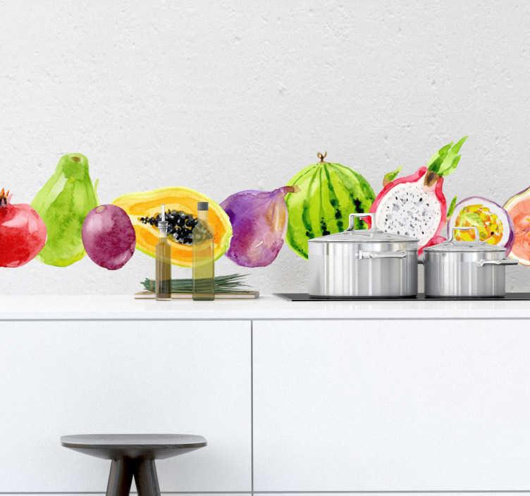 TenStickers. Keuken muursticker tropische vruchten. Een zeer kleurrijke muursticker, samengesteld uit verschillende tropische vruchten. Afmetingen naar eigens wens aan te passen. Snelle klantenservice.