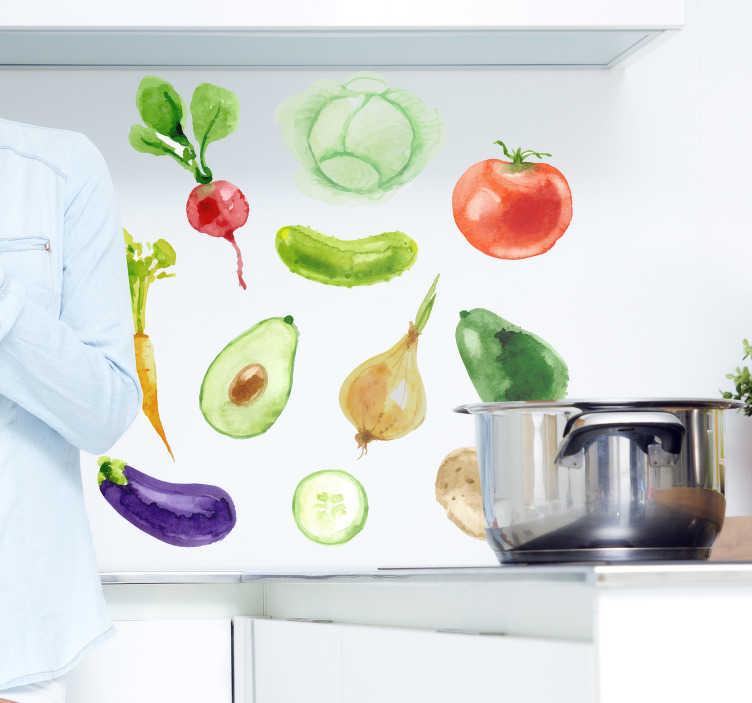 TenStickers. Keuken muursticker fruit en groenten. Muursticker met verschillende soorten fruit en groentes. De afmetingen zijn van toepassing op het gehele stickervel. Express verzending 24/48u.