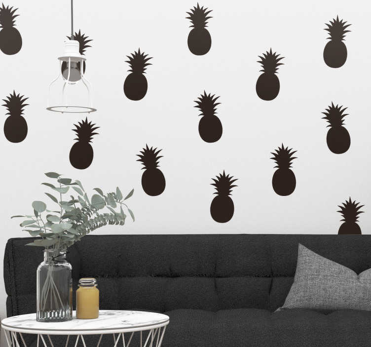 TenStickers. Ananas patroon eenkleurig muursticker. Stickervel met 24 ananassen in een kleur naar keuze. Bepaal zelf hoe u de vruchten aanbrengt op de muren. 10% korting bij inschrijving.