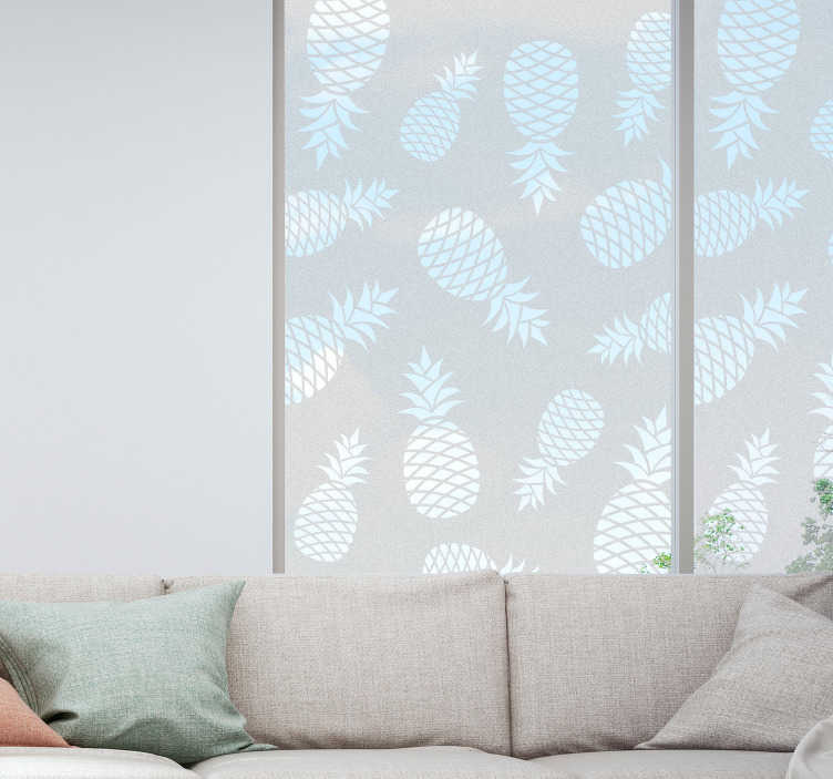 TenVinilo. Vinilo para cristales Piña dibujo patrón. Original lámina de vinilo adhesiva translúcida para ventana o cristalera con estampado de piñas. Vinilos Personalizados a medida.