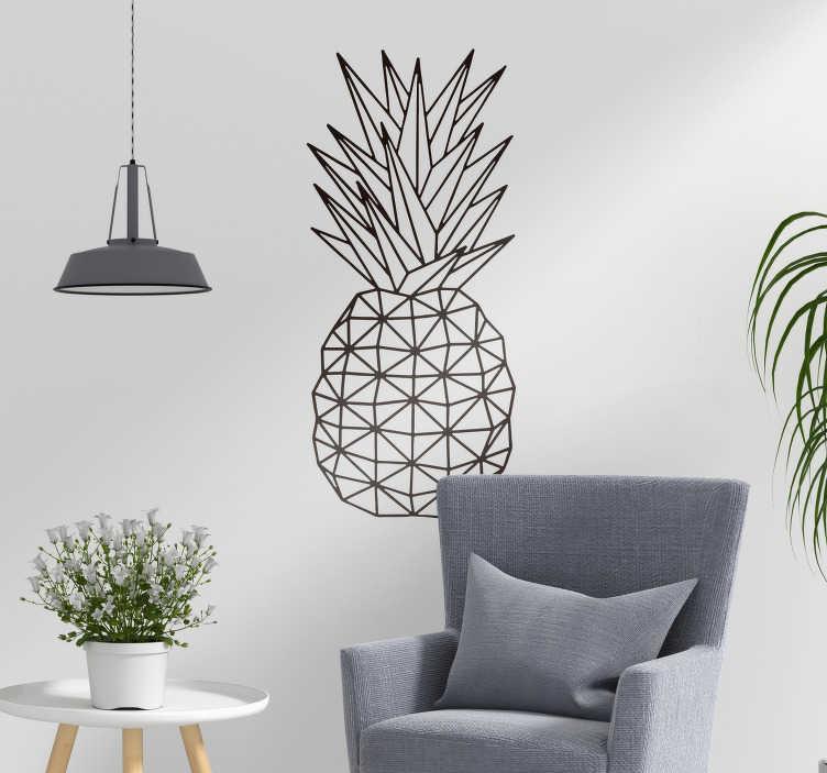 TenStickers. Autocolantes de frutas ananas geométrico. Vinil qutocolante original para a sala de estar, torne a sua casa mais acolhedora e divertida com os nossos autocolantes com desenhos irreverentes.