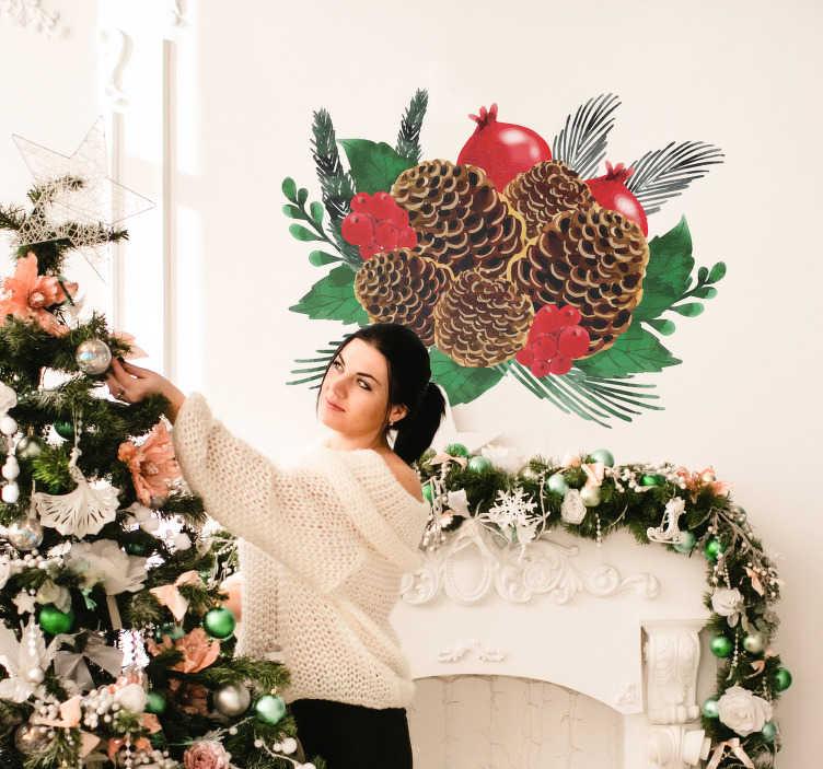 TenVinilo. Vinilo pared Piña navideña. Vinilo adhesivo con temática navideña formado por piñas, acebo y hojas verdes ideal para decorar tu hogar. Descuentos para nuevos usuarios.
