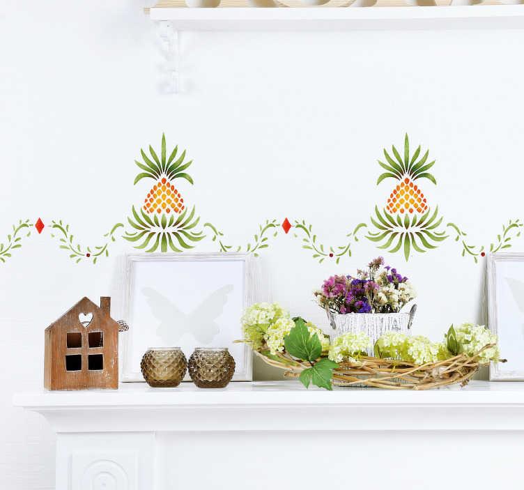 TenVinilo. Cenefa adhesiva Piña tropical. Original cenefa adhesiva decorativa con temática frutal formada por hojas y piñas de estilo abstracto. Precios imbatibles.
