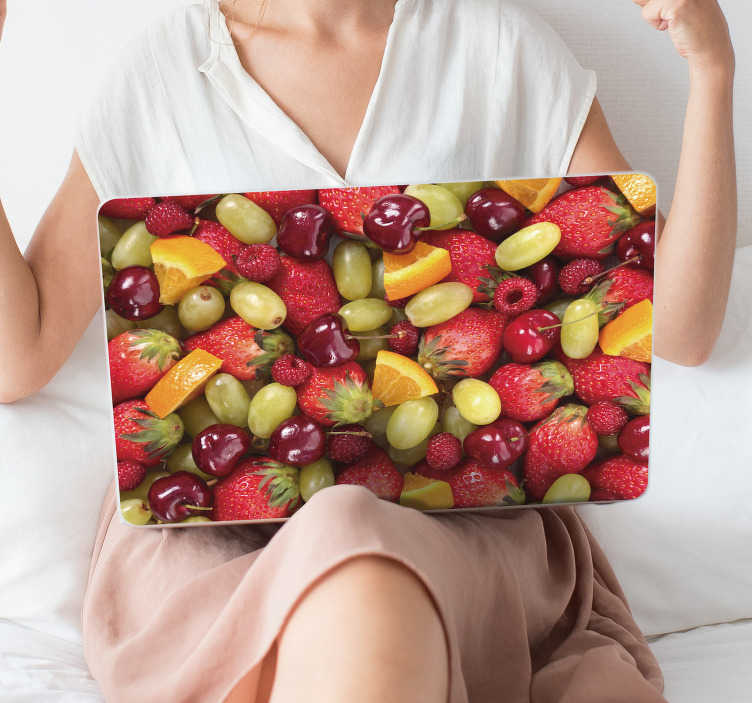 TenStickers. Fruit Selection Laptop Sticker. Furnish your laptop with this fantastic fruit themed laptop sticker! Sign up for 10% off.