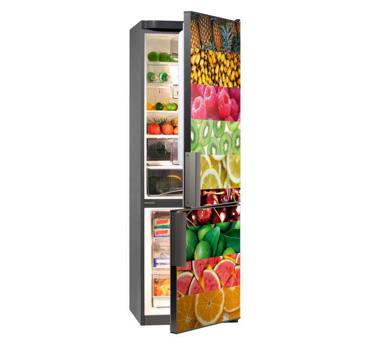 TenStickers. Fruit verzameling koelkast sticker. Een bijzondere sticker voor op de koelkast die verschillende fruitsoorten illustreert. Verkrijgbaar in verschillende afmetingen. Ook voor ramen en auto's.