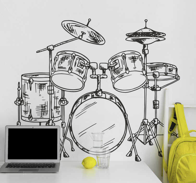 TenVinilo. Vinilo pared música batería. Original vinilo adhesivo con temática musical formado por el dibujo de una batería y todos sus elementos. Descuentos para nuevos usuarios.