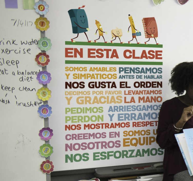 TenVinilo. Vinilo infantil conducta escuela. Colorido vinilo adhesivo con temática educativa formado por las normas de conducta en una clase. +10.000 Opiniones satisfactorias.