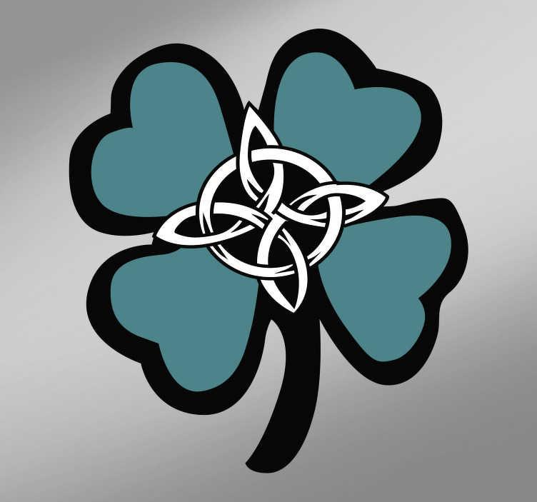 TenStickers. Ornament muursticker keltisch klavertje vier. Breng het klassieke symbool van geluk aan in uw woning met deze Keltisch klavertje vier muursticker. Afmetingen aanpasbaar. +10.000 tevreden klanten.
