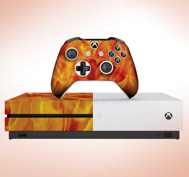 TenVinilo. Vinilo xbox con textura fuego. Original pegatina adhesiva para renovar tu Xbox y controladores con un fantástico estampado de fuego. Descuentos para nuevos usuarios.