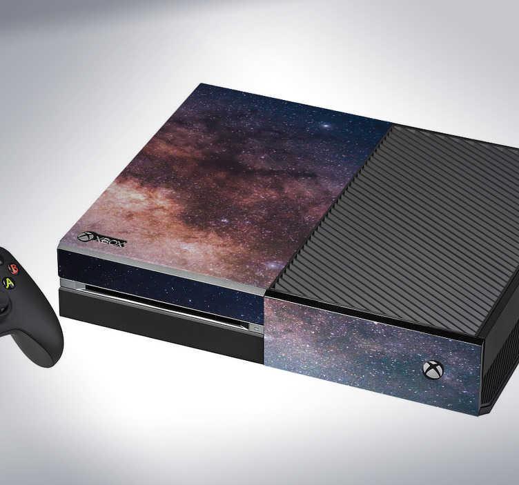 TenStickers. Naklejka na Xbox kosmos. Naklejka na Xbox'a przedstawiająca kosmos! Jeśli jesteś graczem nie z tego świata, ta dekoracja jest idealna dla Ciebie! Nowe promocje w naszym newsletterze!