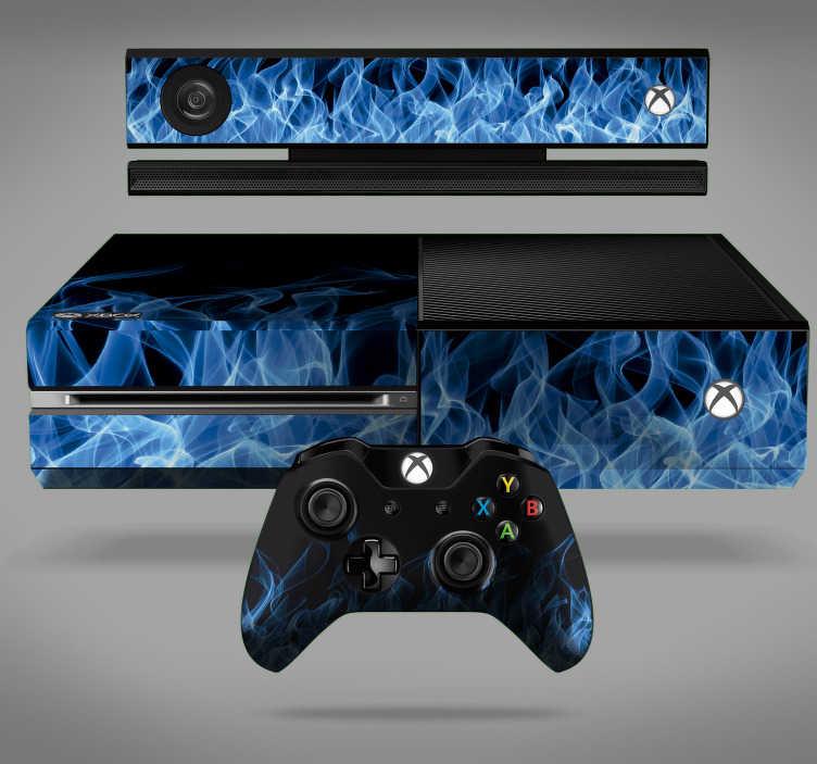 TenVinilo. Vinilo con textura llamas azules. Original pegatina adhesiva para renovar tu Xbox y controladores con estampado de llamas en tonos azules y negros. Descuentos para nuevos usuarios.