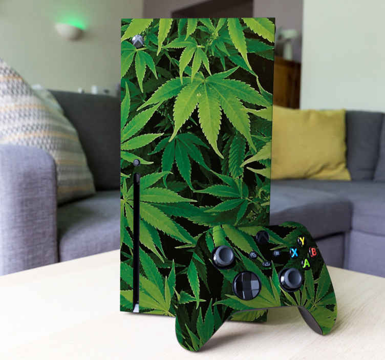 TenStickers. Marihuana Xbox sticker. Decoreer de Xbox met deze sticker waar een oneindig aantal marihuana-planten op is afgebeeld. Controller stickers ook beschikbaar. Dagelijkse kortingen.
